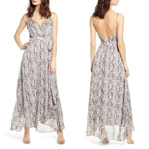 ASTR snake python print wrap maxi dress animal